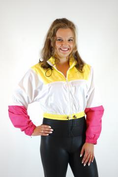 Sportief jasje Wit/Geel/Roze