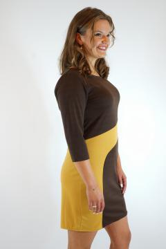 Bruin/gele jurk