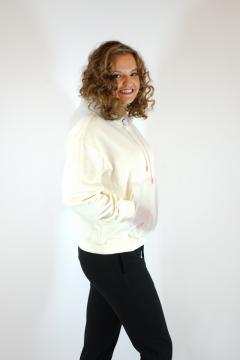 Sweater ecru met doorzichtige capuchon