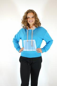 Sweater blauw met doorzichtige capuchon