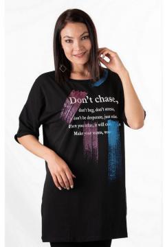 T-shirt Long Relax zwart