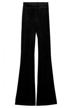 Rib flair broek zwart