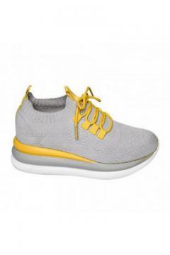 Sneaker grijs gele veter