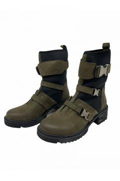 Leren Boots met kliksluiting Cassido groen/zwart