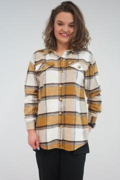 Geruite Overhemd Blouse La Pèra ecru - bruin