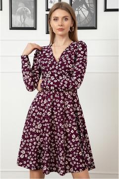 Trendy bloemetjes jurk bordeaux