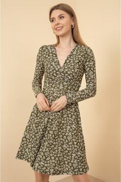 Trendy bloemetjes jurk groen