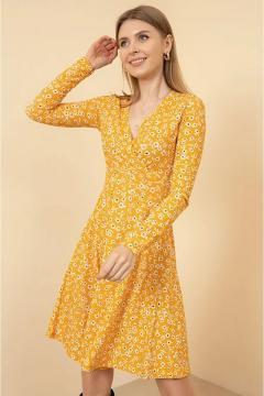 Trendy bloemetjes jurk geel