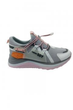 Sneaker Trendy grijs met roze zool