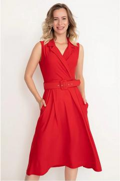 Rode Blouse jurk met riem