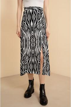 Wit-zwart chiffon rok met patroon