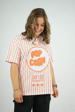T-shirt popcorn oranje