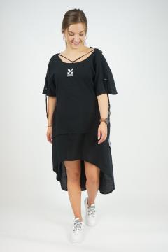 Zwarte jurk met strepen