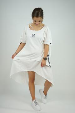 Witte jurk met strepen