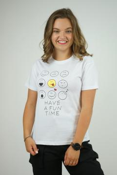T-shirt smiley wit
