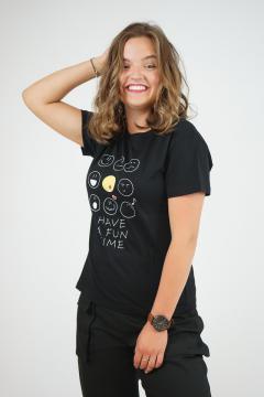 T-shirt smiley zwart