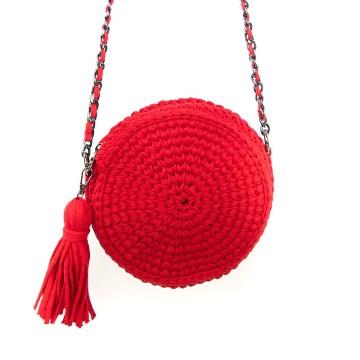 Gebreide rode ronde schoudertas