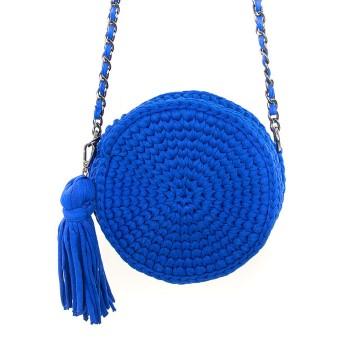 Gebreide blauwe ronde schoudertas
