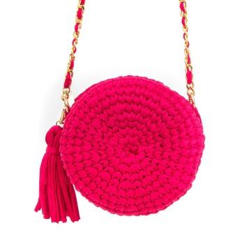 Gebreide roze ronde schoudertas