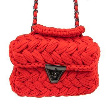 Gebreide rode rechthoekige schoudertas