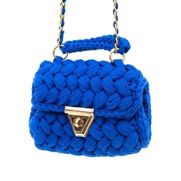 Gebreide blauwe rechthoekige schoudertas